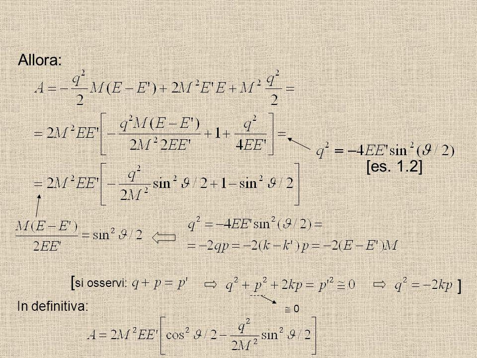 Allora: [es. 1.2] [si osservi: ] In definitiva:  0